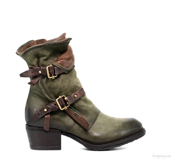 "AS98 Chilly Jungle Green & Cognac 8"" Leather Ankle Boots"