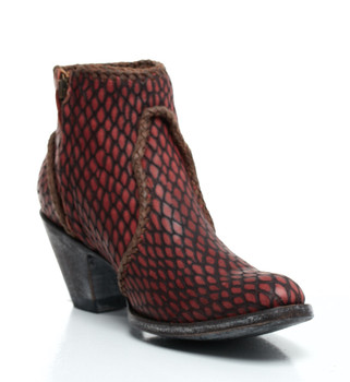 BL1116-22-SS Old Gringo 'Adela' Red/Chocolate Fringe Leather Ankle Boots