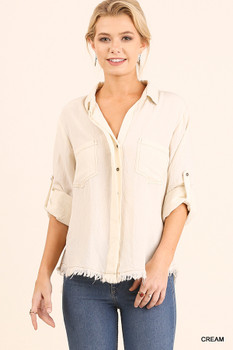 R7232 UMGEE Bohemian Cowgirl Long Sleeve Button Up Top with Frayed and Split Back Hemline Detail Cream
