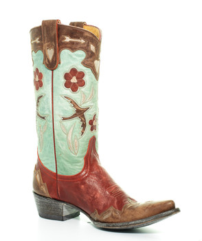 "L1243-2 OLD GRINGO GOLONDRINA 12"" RED/TURQUOISE/BRASS COWGIRL BOOTS"