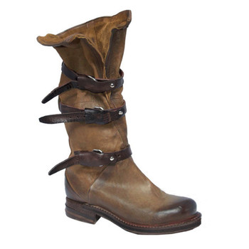 "AS98 Bradley Daino Carmel 14"" Leather Mid Calf Boots"