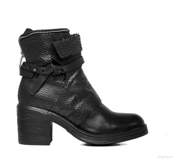 "AS98 Abe Black Nero 8"" Leather  Ankle Boots"