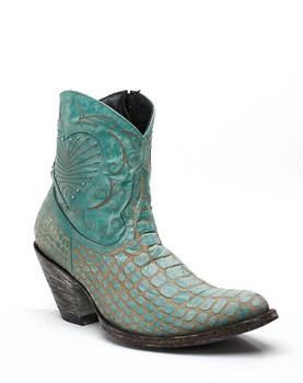"L1713-2 Old Gringo Vigevino Sky Blue Faux Distressed Croc 6"" Ankle Leather Boots"