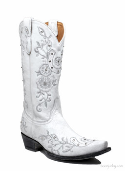 "L1782-2 OLD GRINGO LUCKY DISTRESSED WHITE LEATHER 13"" BRIDAL BOOTS"