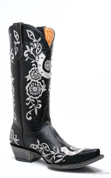 "L1782-3 OLD GRINGO LUCKY  13"" BLACK LEATHER WEDDING BOOTS"