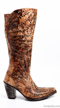 "L1227-5-SS OLD GRINGO ROZE NOVULARIS CARMEL BRASS 16"" COWGIRL BOOTS"