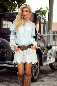 Union of Angels Tania Sky Blue Ivory Lace Insert Dress
