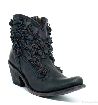 LB711549E CAROLINA LIBERTY BLACK JET WASHED RES DELANO LEATHER FLORAL ANKLE BOOTS