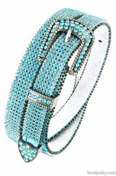 "B&B Western Cowgirl 6 Row Sparkling Crystal Leather Rhinestone Belt 1"" Aqua"