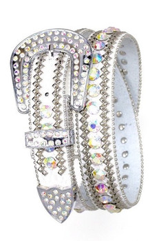 B&B Western Cowgirl 3 Row Sparkling Crystal Leather Rhinestone Belt White