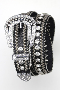 B&B Western Cowgirl 3 Row Sparkling Crystal Leather Rhinestone Belt Black