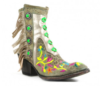 """BL2404-11-2012G MEXICANA MAMACITA 7"""" TURQUOISE LEOPARD/MULTI FRINGE ANKLE BOOTS"""