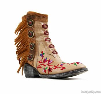 "BL2154-1-2012G MEXICANA MAMACITA 6"" BONE BRASS FRINGE LEATHER ANKLE BOOTS"