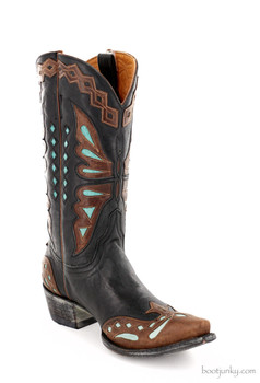 "L 026-36 OLD GRINGO MONARCA 12"" BLACK/BRASS TURQUOISE LEATHER BOOTS"
