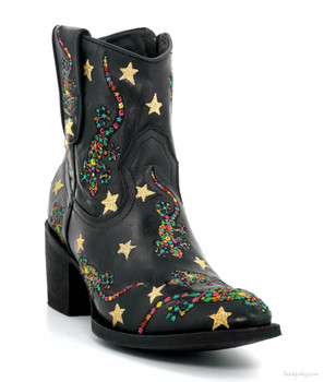 "L2722-3  MEXICANA LUCERTOLA 7'' Black Multi 8"" Ankle Boots"