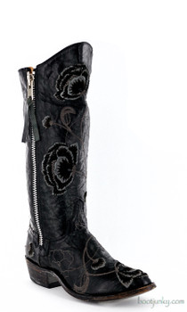 L 468-6 OLD GRINGO MARSHA BLACK/GRAY EMBROIDERED BOOTS