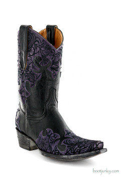 "L2044-4 OLD GRINGO KLOTY 10"" BLACK/VIOLET COWGIRL BOOTS"
