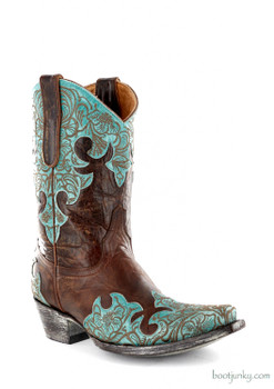 """L2044-5 OLD GRINGO KLOTY 10"""" BRASS/BLUE COWGIRL BOOTS"""