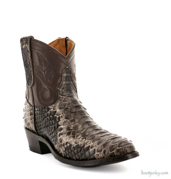 "L2039-2 OLD GRINGO NEVADA ZIPPER 7"" CHOCOLATE/GRAY PYTHON ANKLE BOOTS"