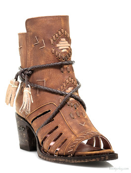 U2010-02 Miss Macie Singing Brook Brass Open Toe Ankle Boots