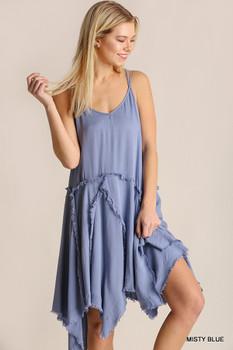 A2880 UMGEE Bohemian Cowgirl Sleeveless A-line Dress with Sharkbite Hemline  Misty Blue