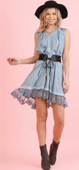 A2985 Washed Sleeveless Dress with Back Keyhole Blue