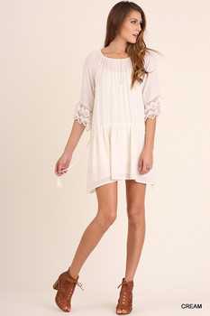 C0085 UMGEE Bohemian Cowgirl Wide Neck Dress with Mini Lace Bell Sleeves and Drawstring Tie on Sides Cream