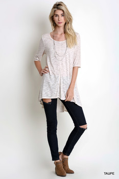 D5054 UMGEE Bohemian Cowgirl Basic 1/2 Sleeve High Low Tunic Taupe