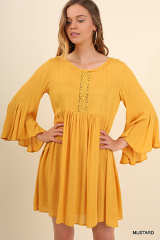 N3007 UMGEE Bohemian Cowgirl Ruffled Dress with Bell Sleeves Mustard