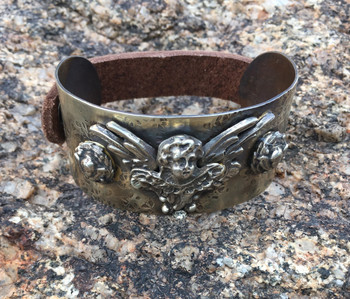 Barbosa Jewelry Angel Wing Antique Brass,  Silver and Leather Snap Cuff Bracelet