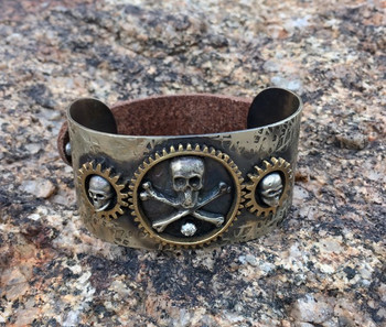 Barbosa Jewelry Skull and Crossbones Antique Brass, Silver and Leather Snap Cuff Bracelet