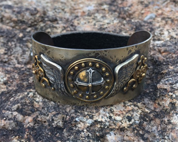 BARBOSA JEWELRY CROSS WITH ANGEL WINGS ANTIQUE BRASS, SILVER AND LEATHER SNAP CUFF BRACELET
