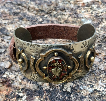 BARBOSA JEWELRY CUPID'S HEART ANTIQUE BRASS, SILVER AND LEATHER SNAP CUFF BRACELET