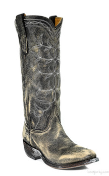"""L 194-16-SS OLD GRINGO POLO 14"""" DISTRESSED BLACK LEATHER COWGIRL BOOTS"""