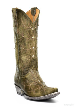 """L 645-22 OLD GRINGO POLO STUD MILITARY GREEN 13"""" LEATHER STUDDED BOOTS"""