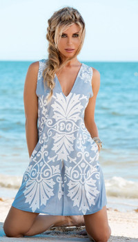 UNION OF ANGELS DUSTY BLUE BLOSSOM DRESS