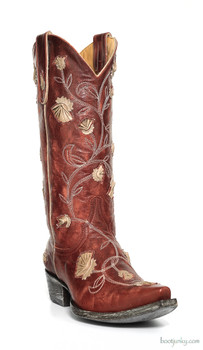 L 664-10-SS OLD GRINGO ABBY ROSE WOMENS BOOTS RED BONE WESTERN OVERLAY FLORETS