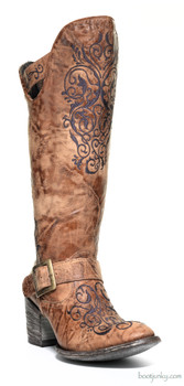 "L1059-4-SS OLD GRINGO NOCTUA 16"" GOLD EMBROIDERED BOOT"
