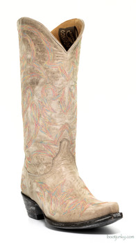 "L1097-18-SS OLD GRINGO LAUREN 13"" DISTRESSED BONE LEATHER COWGIRL BOOTS"