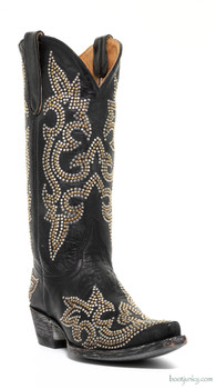"""L1265-2 OLD GRINGO DIEGO STUD  13"""" BLACK COWGIRL BOOTS"""