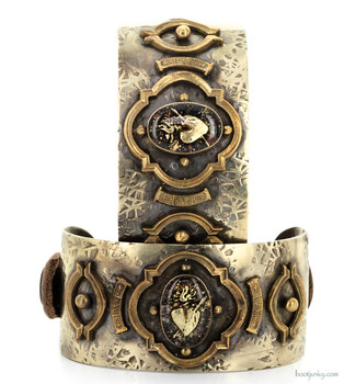 BARBOSA JEWELRY CUPID'S HEART ANTIQUE BRASS, SILVER AND LEATHER CUFF BRACELET