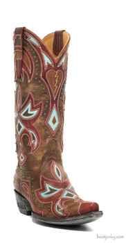 "L1302-3-SS Old Gringo Heartbreaker Brass / Red / Turquoise 13"" Cowgirl Boots"