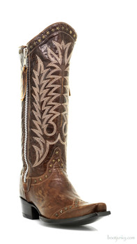 "L1360-1-SS OLD GRINGO ROCKSTAR BRASS 13"" COWGIRL BOOTS"