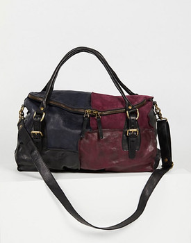 AS98 REVEL ITALIAN LEATHER LUXURIOUS EGGPLANT NAVY SMOKE PATCHWORK HANDBAG