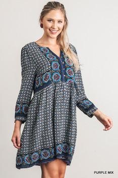 A2677 UMGEE Bohemian Cowgirl Split Neck Print Peasant Dress
