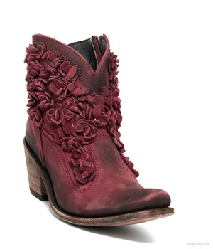 LB711549F CAROLINA LIBERTY BLACK ROJO RED DISTRESSED DELANO LEATHER FLORAL ANKLE BOOTS