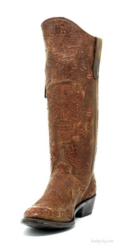 "L1439-4 OLD GRINGO KLAKRAZZ 13"" BRASS LEATHER COWGIRL BOOTS"
