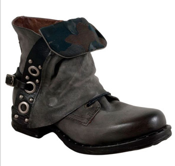 AS98 SCANLON SMOKEY GRAY COMBAT STYLE ANKLE LEATHER BOOTS