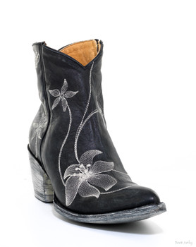 BL1136-7 OLD GRINGO BLACK FLORA LOCA EMBROIDERED ANKLE BOOTS