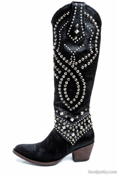 "L 903-26 OLD GRINGO BELINDA HAIR ON HIDE JET BLACK 18"" TALL COWGIRL BOOTS CUSTOM ORDER"